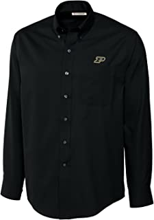 Cutter NCAA Purdue Boilermakers Men's Long Sleeve Epic Easy Care Fine Twill Shirt, X-Large, Black