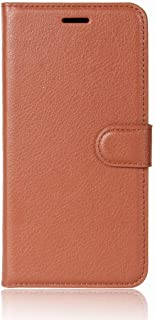 Flip Litchi Pattern PU Leather Wallet Card Slot Stand Case for DOOGEE Mix 2 - Brown