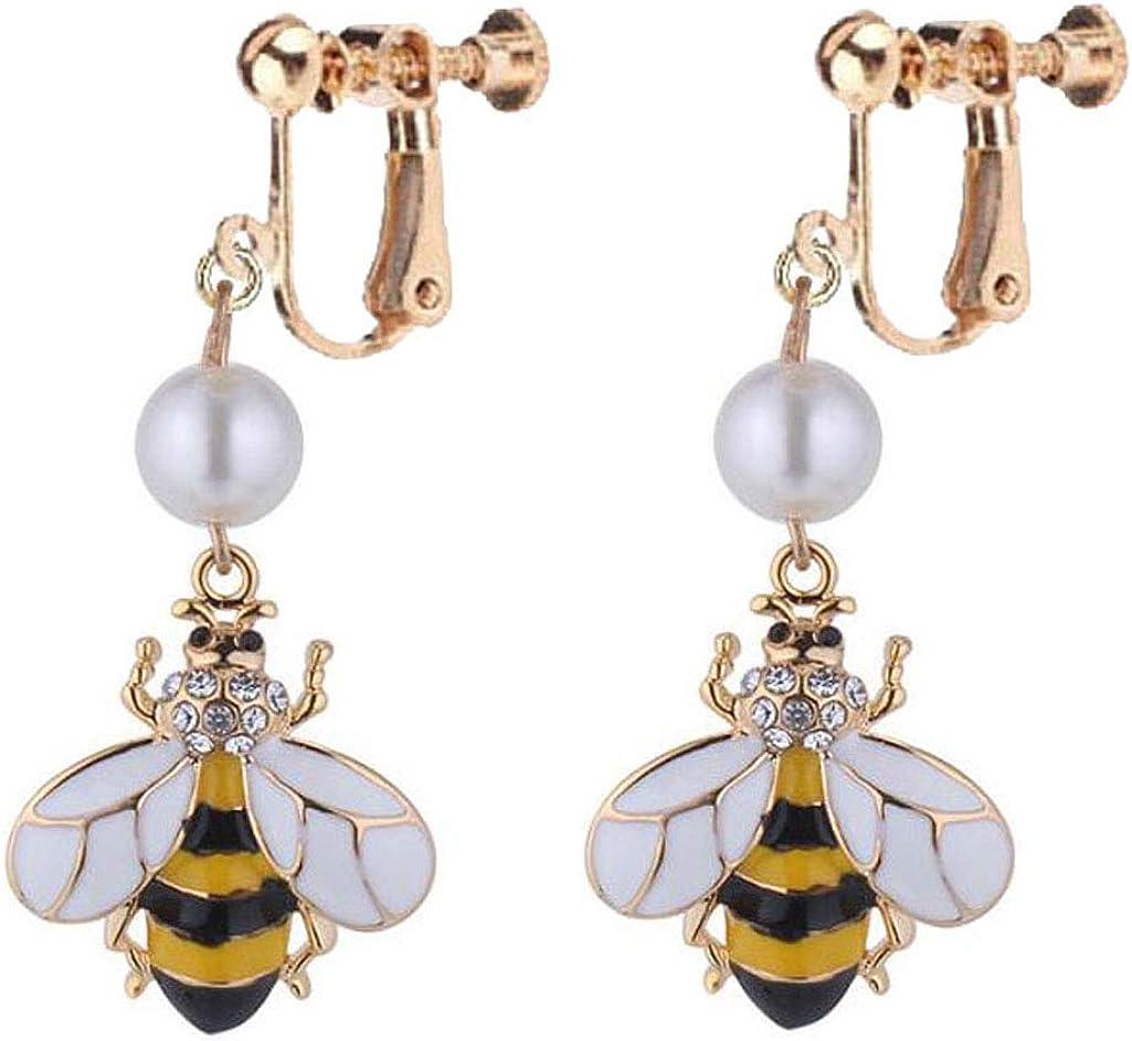 Cute Bee Drop Dangle Clip On Earrings Bohemia Simulated-Pearl Jewelry Women Gift