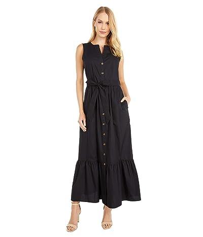 Calvin Klein Button Front Cotton Maxi Dress with Belt (Black) Women