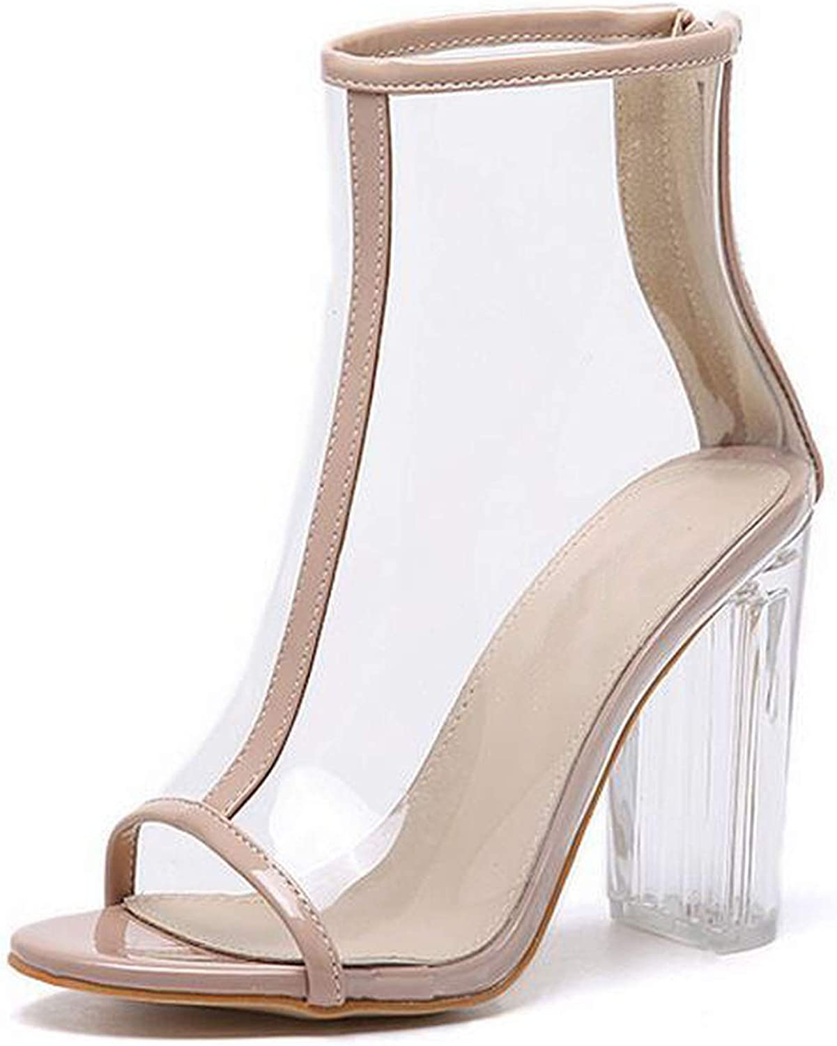 IOJHOIJOIJOIJMO Sexy PVC Transparent Boots Sandals Peep Toe shoes Clear Chunky Heels Sandals Women Boots 11Cm