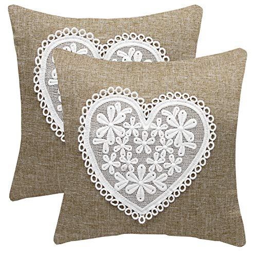 FYJS Confezione da 2 federe in lino artificiale con fiore in pizzo Decorazioni per la casa Fodera per cuscino quadrato per divano camera da letto 45x45cm,Beige
