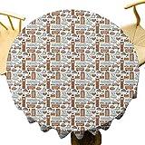 VICWOWONE - Mantel redondo de 35 pulgadas, con símbolos tradicionales de la ciudad y lugares de interés, colección retro, Big Ben Rain Feel comfortable Pale Orange Tan Pale Blue