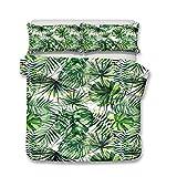 Helengili elemento popular diferentes tipos de plantas suculentas serie de plantas tropicales 3D Juego de ropa de cama de impresión realista #2, poliéster, 7, matrimonio