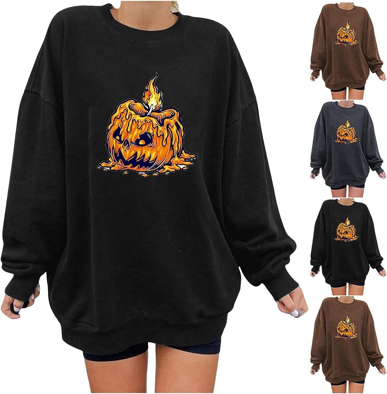 Jaqqra Halloween Sweatshirts for Women Oversized Long Sleeve Pumpkin Print Novelty Graphic Shirts Loose Pullover Tops