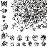 WuikerDuo 100 pièces pendentif breloques, 100 pièces argent perles d'espacement, entretoises mixtes perles tibétaines pendentifs en vrac artisanat charmes accessoires pour bracelet de collier