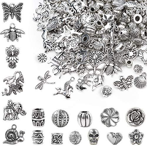 WuikerDuo 100 Pcs Pendant Charms,100 PCS Silver Spacer Beads,Mixed Spacers Tibetan Beads Pendants Bulk Craft Charms Accessories for DIY Necklace Bracelet