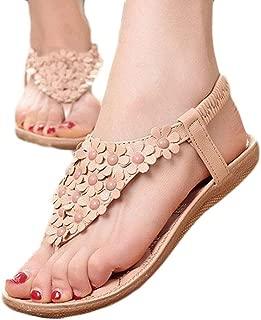 Hemlock Women Bohemia Flat Sandals Shoes Summer Beach Sandals (US:8, Khaki)