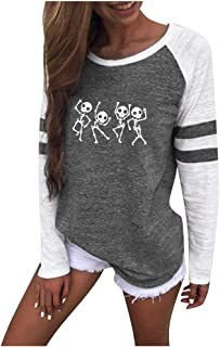 DBolomm Women Fashion Printing Stripe Round Neck Long Sleeve Casual Blouse Sweatshirt