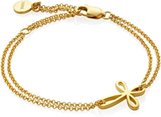 Molly B London Girl's Holy Communion Cherish 18ct Gold Vermeil Sterling Silver Cross Bracelet - Ideal Christening Jewelry
