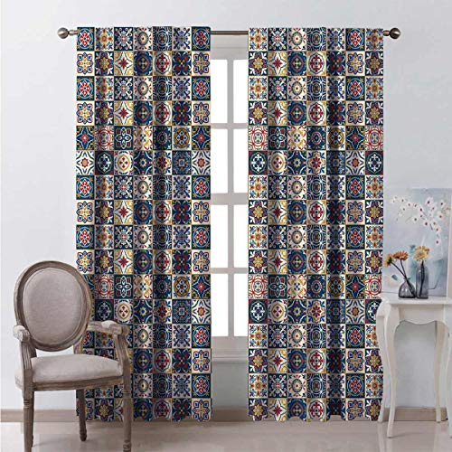 Toopeek Marroquí Dormitorio Caña Cortinas opacas Portuguesas Azulejo Cuadrados Patrón Colorido Arreglo Floral Cortinas Color Salón 2 Paneles W84 x L84 pulgadas Azul Oscuro Ámbar Rojo