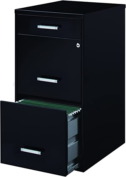 Office Dimensions 18 Deep 3 Drawer Metal File Cabinet Organizer With Pencil Drawer Black