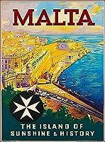 マルタマルタ諸島、ブリキサインヴィンテージ面白い生き物鉄の絵の金属板ノベルティ