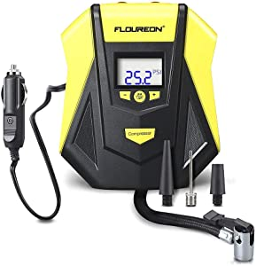FLOUREON Tire Inflator Car Tyre Inflator Car Tyre Pump Portable Auto Air Compressor 12v Car Electric Pump With LED Flash Light for Cars  Bikes  Motorcycles and Sport Balls
