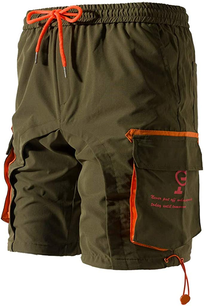 DIOMOR Fashion Outdoor Shorts for Men Multi-fonction Drawstring Zipper Pockets Velcro Cargo Shorts Trunks Tactical Pants