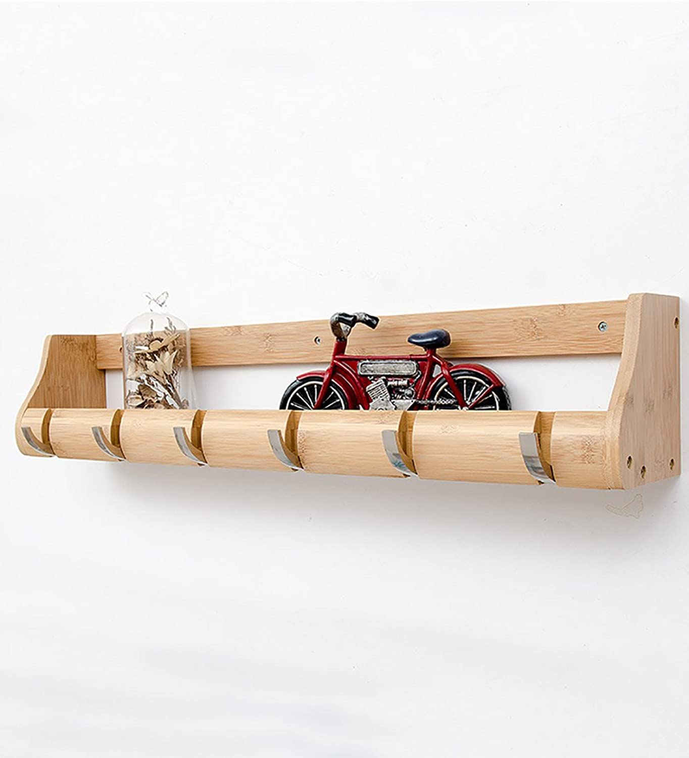 WUFENG Wall-mounted Coat Rack Bamboo Simple Shelf Metal Hook Available In 15 Styles High 14.5cm ( color   Natural 6 hooks )