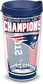 Tervis 1324939 NFL New England Patriots Super Bowl 53 Champions Insulated Tumbler with Wrap and Lid, 16 oz, Clear