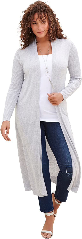 Roamans Women's Plus Size Fine Gauge Duster Cardigan Sweater