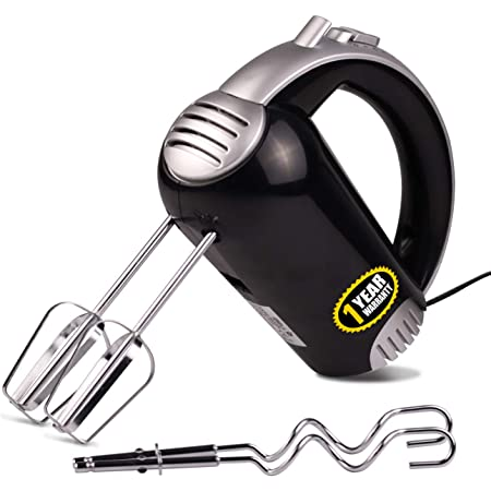 iBELL HM580L 300W Hand Mixer/Beater/Blender for Cakes with Base 5 Speed Control and 2 Stainless Steel Beaters - Black