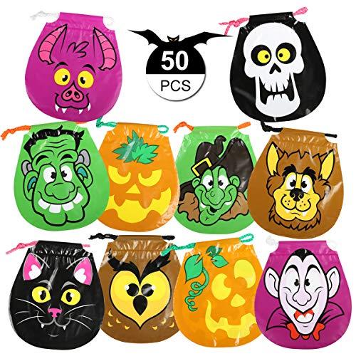 GWHOLE 50 x Bolsa de Dulces Halloween para Niños con Cordón Bolsa de Calabaza Bolso Divertido Halloween de Caramelo Galleta Regalo de Chocolate