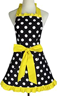 Aspire Kitchen Apron For Women Retro Polka Dots Cooking Aprons Cafe Working Aprons-Black Yellow-M