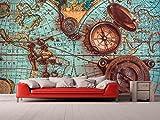 Fotomural Vinilo para Pared Mapa y Brujulas | Fotomural para Paredes | Mural | Vinilo Decorativo | Varias Medidas 100 x 70 cm | Decoración comedores, Salones, Habitaciones.