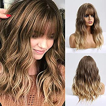 BOGSEA Ombre Blonde Wig with Bangs Shoulder Length Wigs for Women Ombre Blonde Wig with Brown Root Medium Length Wig Heat Resistant Hair Synthetic Wave Wig for Daily Use(20 Inch,Brown Ombre Blonde