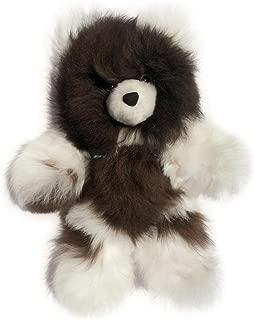 Baby Alpaca Fur Teddy Bear - Hand Made 12 Inch Multi Colored - Dark Chocolate/White