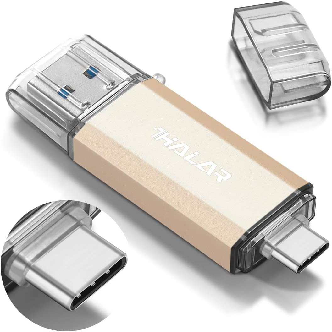 THKAILAR USB C Memory Stick-64GB, 128GB, 256GB, 512GB 2 in 1 Type C Flash Drive for Business Traveler Works with External Storage Data(64GB,Gold)