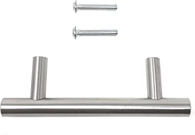 "Rusoji Pack of 5 Satin Nickel-Brushed Handle T-Shaped Handle Pulls with Screws for Cabinet, Drawer, Kitchen Cupboard, 2.5"" Screw Hole Center(2-1/2"" Screw C to C))"