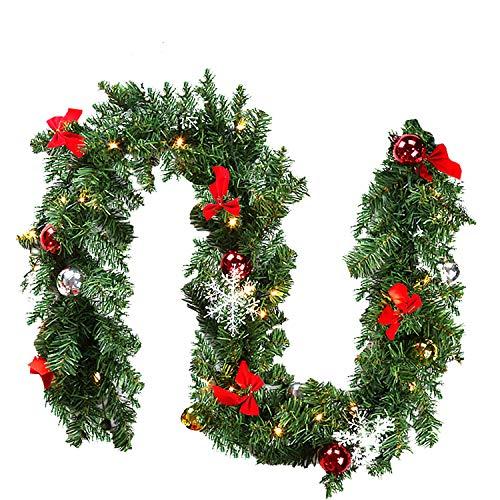 wolketon Weihnachtsgirlande, 5M 100 LED's Tannengirlande inkl Deko, Weihnachtsdeko Türkranz für Innen und Außen