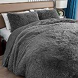 Mr. Sandman Shaggy Bedding Duvet Cover King Set, Ultra Soft Plush Crystal Velvet Fluffy Comforter Bed Sets 3 Pieces (1 Duvet Cover + 2 Pillow Shams), Zipper Closure, Grey