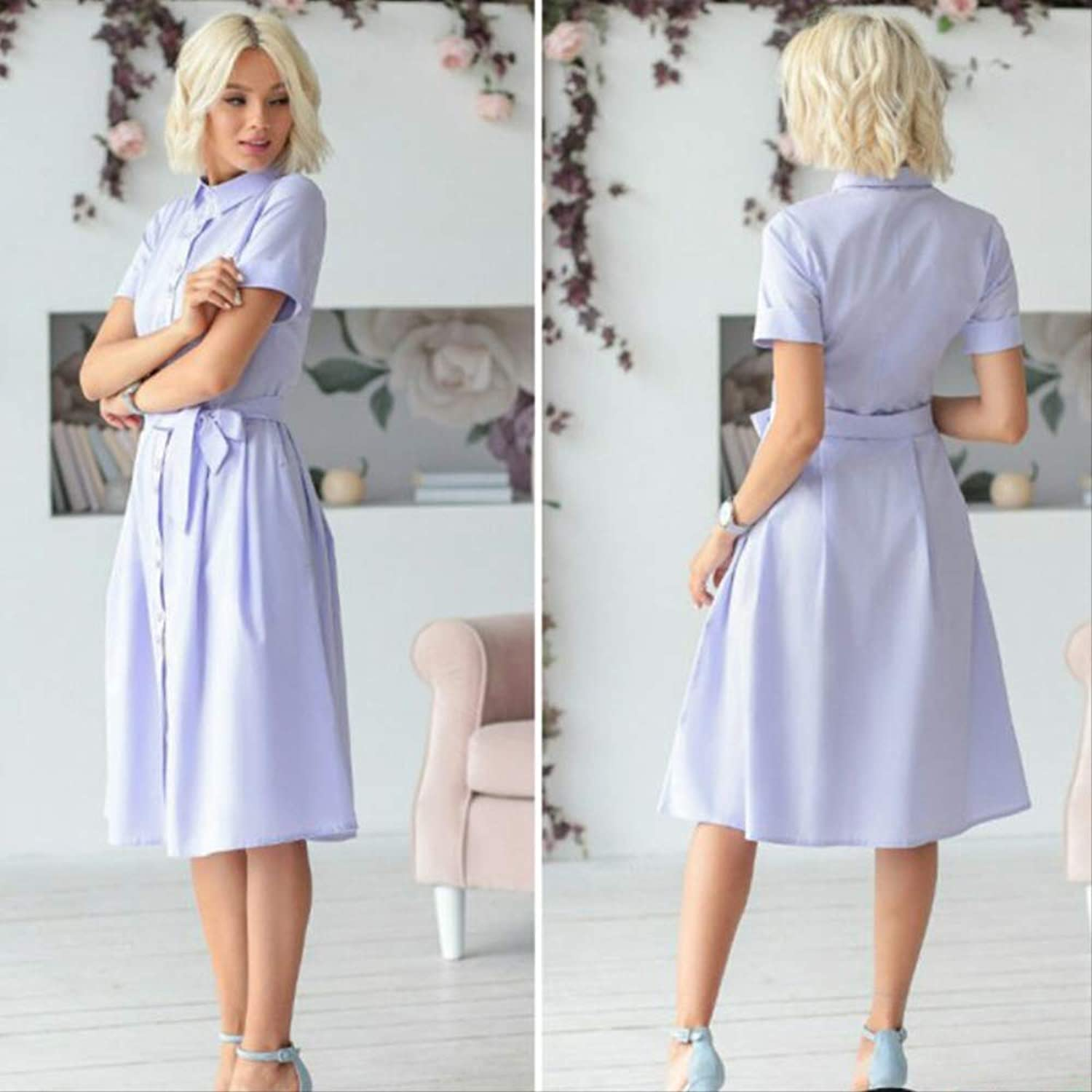 YKDDEE High-end skirt Women Vintage Sashes Button A-line Party Dress Short Sleeve Turn Down Collar Casual Dress Summer Comfortable Skirts Can Give You Confidence XL