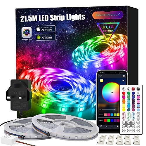 Led Strip Lights with Remote 21.5m, APP Control Led Lights for Bedroom, Room, Home RGB 5050 Color Changing Led Lights
