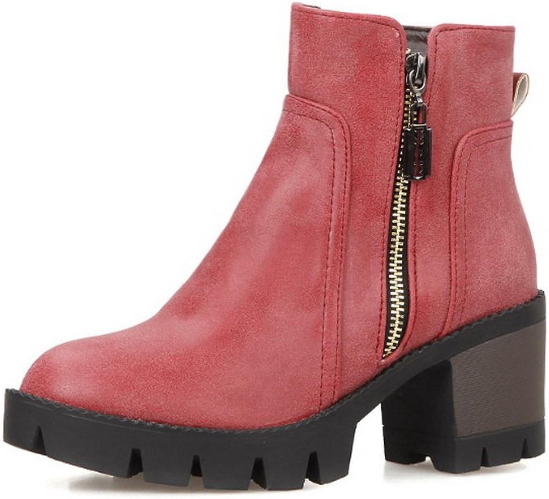 AandN Womens Boots Closed-Toe Zip High-Heel Warm Lining Waterproof Road Smooth Leather Outdoor Urethane Zipper Bootie Urethane Boots DKU01850