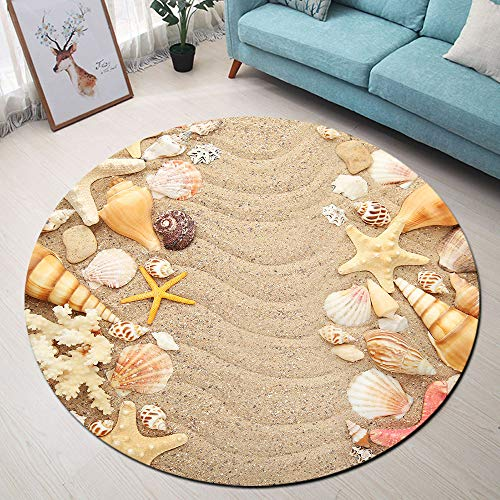 Beach Theme Area Rugs, Seashells and Starfishes Non-Slip Round Rug, Washable Living Room Bedroom Carpet for Kids Playmat Nursery Rugs, Dia. 4'(120cm)