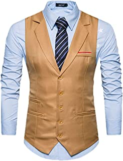 Men's Vest Single Breasted Tuxedo Vest Slim Waistcoat Modern Casual Fit Wedding Suit Vest Party Blazer Men's Vest Waistcoa...