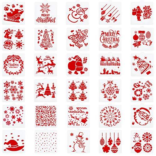 30 Pezzi Natale Craft Stencil Torta Stencil Design Formine di Torta Biscotto per Babbo Natale Albero Fiocco di Neve Pupazzo di Neve Fai da Te Pittura Natale Biscotti Mestiere