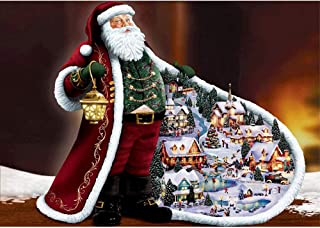 MXJSUA DIY 5D Diamond Painting by Number Kits Full Drill Rhinestone Pictures Arts Craft for Home Wall Decor Santa Claus 12x16In