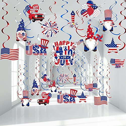 Decoraciones de Happy 4th of July, Remolinos Colgantes del Día de Independencia Día Conmemorativo Serpentina Patriótica de Estrella/ Bandera Estadounidense, Azul Plata Rojo , 30 Piezas