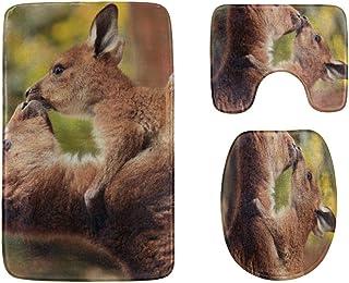 Mother and Baby Kangaroo Hug Bathroom Rug Mats Set 3-Piece,Soft Shower Bath Rugs,Contour Mat and Toilet Seat Lid Cover No...