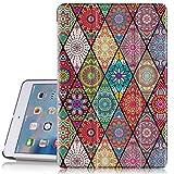 Hocase iPad Mini 2 Case, iPad Mini 3 Case, PU Leather Folio Smart Case w/ Unique Flower Design, Auto Sleep/Wake Feature, Microfiber Lining Hard Back Cover for iPad Mini 1/2/3 - Mandala Floral