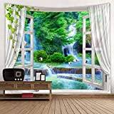 Nature Landscape Tapestry, Summer Lush Forest Jungle Waterfall Lake Window Scene Tapestry Fabric Wall Hanging for Bedroom Living Room Dorm Wall Art Blanket