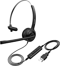 Mpow Single-Sided USB Headset with Microphone, Over-The-Head Computer Headphone for PC, 270 Degree Boom Mic for Right/Left Ear, Comfort-fit Call Center Headsets with in-Cord Volume Control