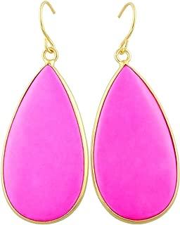 SUNYIK Women's Stone Slice Dangle Drop Earrings for Women, Round Teardrop Shape