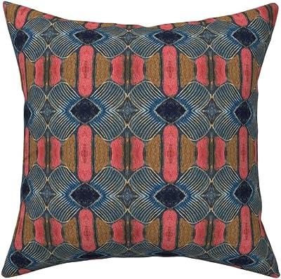 Amazon.com: Diva At Home - Cojín de lino cuadrado geométrico ...