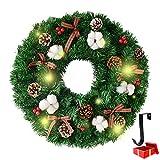 Weihnachtskranz mit Beleuchtung, Morbuy Weihnachten Lichterkette Dekoration Kranz als Stimmungslicht Innen und Außen Kamine Tür LED Batterie betrieben (20inch = 50cm,Red Bow)