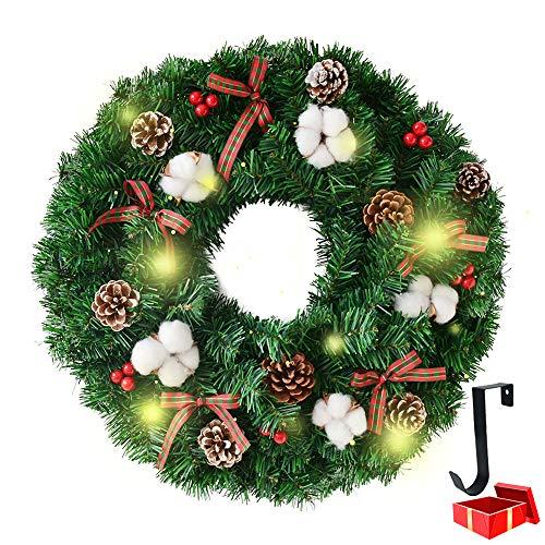 Weihnachtskranz mit Beleuchtung, Morbuy Weihnachten Lichterkette Dekoration Kranz als Stimmungslicht Innen und Außen Kamine Tür LED Batterie betrieben (16inch = 40cm,Red Bow)