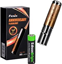 Fenix 15th Anniversary Special Edition 85 Lumen LED flashlight, unique rose gold plating with Fenix's insignia bundle with EdisonBright AAA alkaline battery
