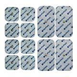 StimPads, Eco-Pack de 12 Unidades de Alto Rendimiento, electrodos TENS - EMS de Larga duración con Conector Universal Tipo Snap de 3.5mm (4 X 50X100mm y 8 X 45X45mm)